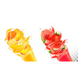 fruit in juice splashes strawberry guava vector image