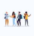 group tourists hikers with backpacks holding vector image vector image