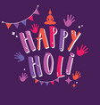 happy holi sign with colorful hands and vector image vector image