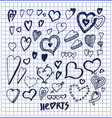hearts hand drawn elements written by ink pen vector image