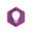 hexagon with light bulb logo vector image