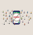 hoax news spread using group chat messaging app vector image vector image