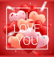 i love you happy valentines day red pink and vector image vector image