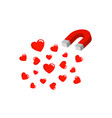 magnet is attracting heart into itself vector image vector image