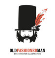 man with mustache and sideburns in old style vector image vector image