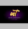 mt m t 3d gold golden alphabet letter metal logo vector image vector image