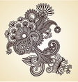 original hand draw line art ornate flower desig vector image vector image
