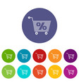 percent trolley icons set color vector image vector image