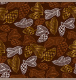 pinecones color seamless pattern vector image vector image