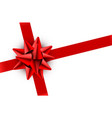 red bow satin ribbon isolated on white background vector image