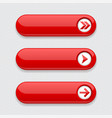 red interface buttons with arrows vector image vector image