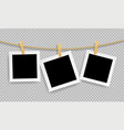 retro realistic photo frame with paper clip wood vector image vector image