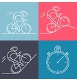 set 4 linear icons cycling race stage types vector image vector image