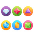 set flat icons with precious jewels vector image vector image