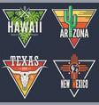 set hawaii arizona texas new mexico tee prints vector image vector image