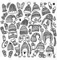 set of cute hand-drawn hats vector image