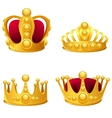 Set of gold crowns isolated vector | Price: 3 Credits (USD $3)
