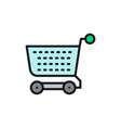 shopping cart trolley flat color line icon vector image