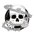 skull with flower vector image vector image