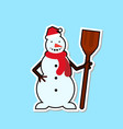 snowman icon christmas decoration sticker concept vector image