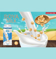 soy milk mock up ads with splash realistic vector image vector image