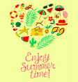 summer objects set in heart silhouette enjoy vector image vector image