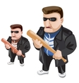 Thug in sunglasses and with bat in his hands vector image
