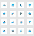weather icons colored set with snow flag night vector image vector image