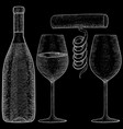 wine bottle with glasses and corkscrew hand drawn vector image vector image