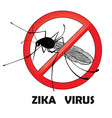 No zika mosquito gnat insect sign vector image