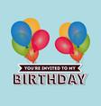 happy birthday card invitation colored balloons vector image