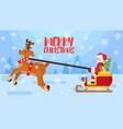 cheerful bright santa is carrying gifts on a vector image
