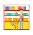 man shopping at supermarket with shopping cart and vector image