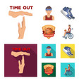 basketball and attributes cartoonflat icons in vector image vector image