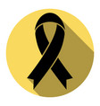 black awareness ribbon sign flat black vector image vector image