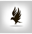 Black bird isolated with expanded wings vector image vector image