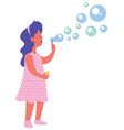 blowing bubbles on white vector image vector image
