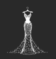 brilliant wedding dress vector image vector image