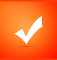 check mark icon isolated on orange background vector image