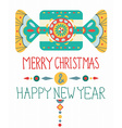 Christmas background with geometric ornament vector image vector image