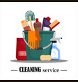 cleaning service set house cleaning tools in vector image vector image