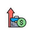 coin and growing arrow out bag income vector image