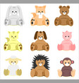 colorful baby shower animal toys set vector image