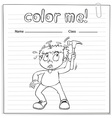 Coloring worksheet with a boy holding a hammer vector image vector image