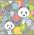 cute panda seamless pattern on grey background vector image
