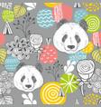 cute panda seamless pattern on grey background vector image