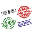 damaged textured air mail seal stamps vector image