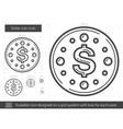 Dollar coin line icon vector image vector image