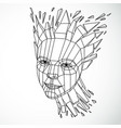 face of a thinking woman created in low poly vector image