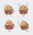 fast food collection kawaii cartoons vector image vector image